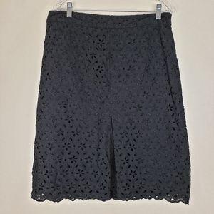 Talbots Black Eyelet Lace A-line Skirt, sz 12